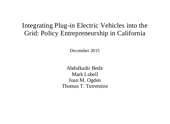 Integrating Plug-in Electric Vehicles into the Grid