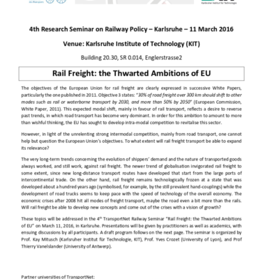 Railway Policy Research Seminar