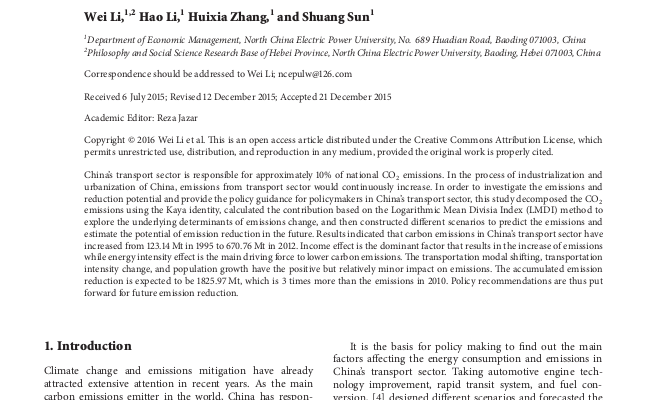 The Analysis of CO 2 Emissions and Reduction Potential in China's Transport Sector